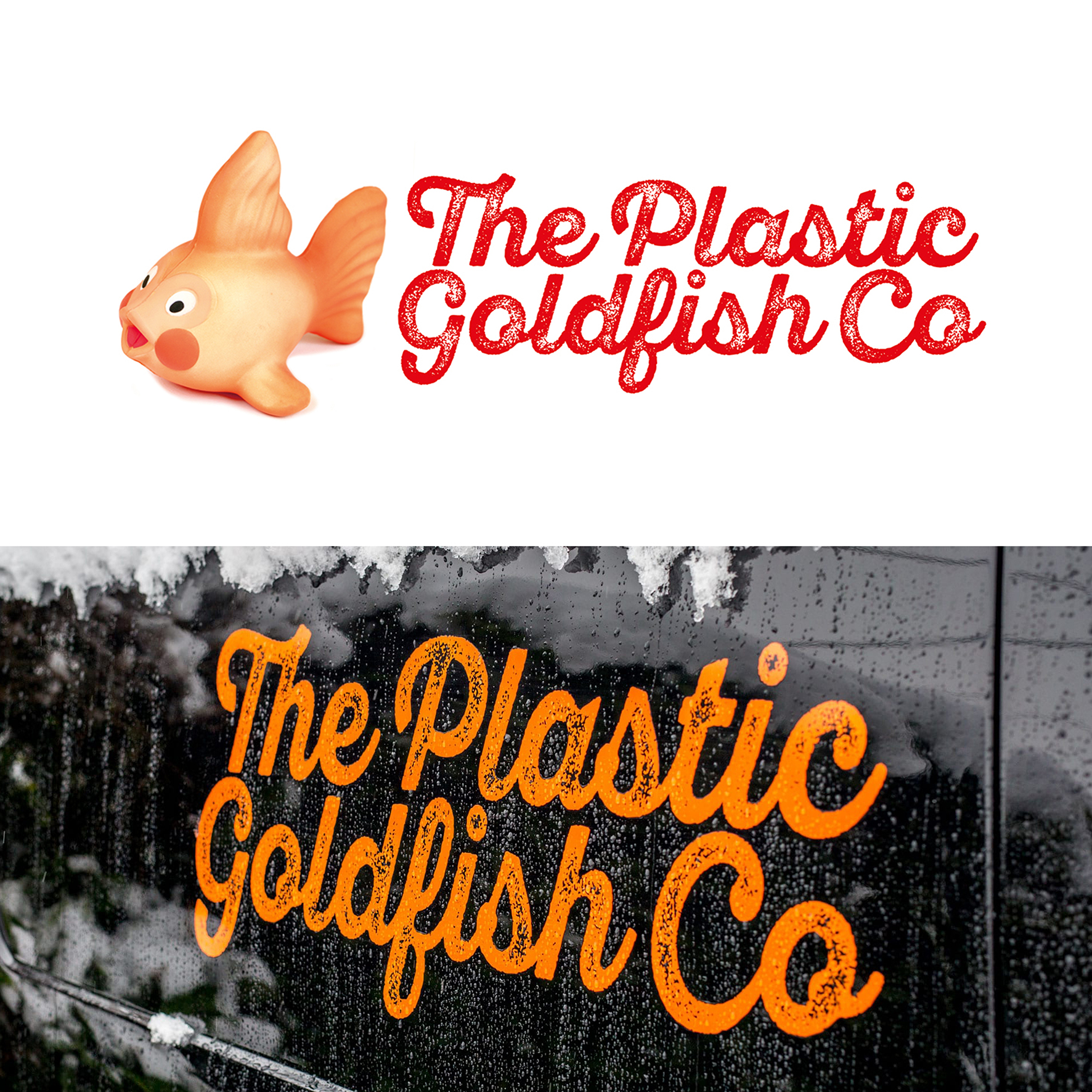 plastic goldfish logo and signwriting